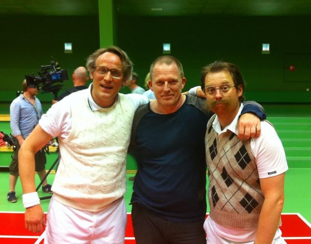 Dennis Albrethsen dirigerer Rasmus Botoft og Martin Buch i badmintonmatch - Rytteriet 2013