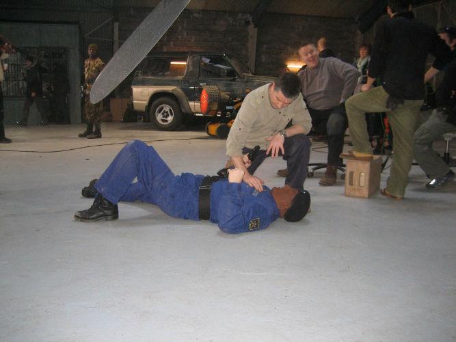 Thomas W. Gabrielsson og Dennis Albrethsen øver slagsmål Livvagterne.