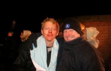 Stuntkoordinator Dennis Albrethsen og Thura Lindhardt. Slagsmål i den kolde nat. Broderskab - 2010