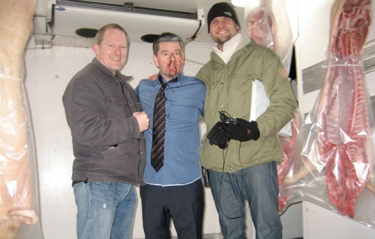 Dennis, Skuespiller Thomas W. Gabrielsson og Instruktør Mikkel Serup. Efter en lang dag med slagsmål. Livvagterne